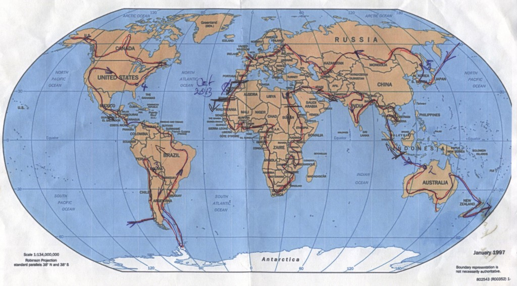 Steve's RTW route plan, as of July 2013. A world map with a line, identifying rough route i'd be taking.